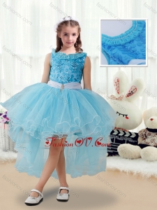 New Style High Low Little Girl Pageant Dresses with Belt and Appliques