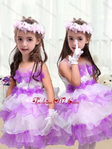 New Style Little Girl Pageant Dresses with Appliques and Ruffled Layers