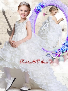 New Style Scoop High Low White Little Girl Pageant Dresses with Ruffled Layers