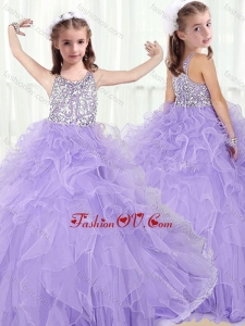 New Style Scoop Lavender Little Girl Pageant Dresses with Beading and Ruffles