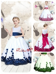 New Style Scoop Long Little Girl Pageant Dresses with Bowknot