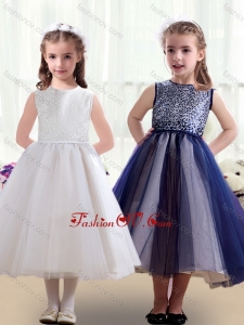 New Style Scoop Ruching Tea Length Little Girl Pageant Dresses
