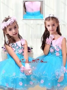 New Style Scoop Short Little Girl Pageant Dresses with Appliques
