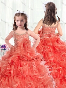 New Style Straps Little Girl Pageant Dresses with Beading and Ruffles
