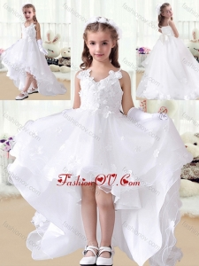 New Style V Neck Appliques High Low White Little Girl Pageant Dresses
