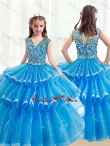 New Style V Neck Baby Blue Little Girl Pageant Dresses with Ruffled Layers