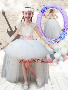 New Style V Neck High Low Appliques Little Girl Pageant Dresses