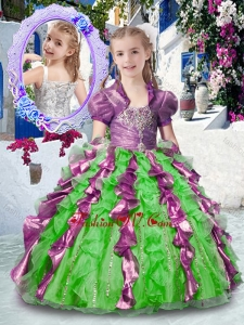 Most Popular Straps New Style Little Girl Pageant Dresses with Beading and Ruffles