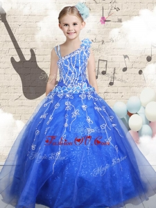New Style Ball Gown Asymmetrical Little Girl Pageant Dresses with Beading
