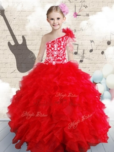 New Style Beading and Ruffles Little Girl Pageant Dresses in Red