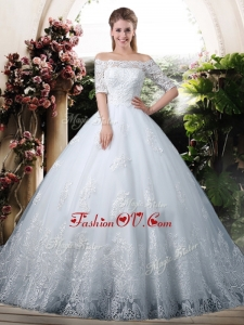 2016 Elegant Ball Gown Off the Shoulder Lace Chapel Train Wedding Dresses with Half Sleeves