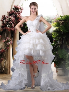 2016 Inexpensive One Shoulder High Low Wedding Dresses with Ruffled Layers