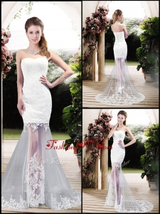 2016 Latest Column Sweetheart Lace Wedding Dresses with Brush Train