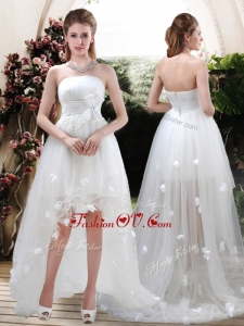 2016 Modern Strapless Appliques and Belt Zipper Up Wedding Dresses with High Low