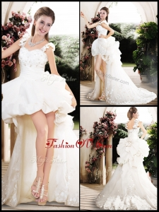 2016 New Style High Low Straps Wedding Dresses with Appliques
