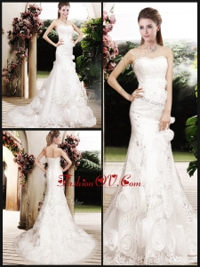 2016 Perfect Column Beading Wedding Dresses with Brush Train