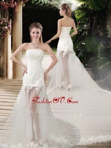 2016 Popular See Through Empire Strapless Appliques Wedding Dresses with Court Train