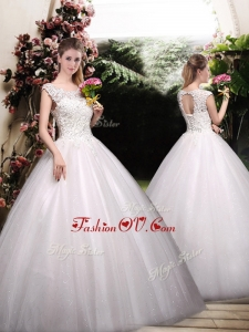 2016 Romantic Ball Gown Scoop Wedding Dresses with Appliques