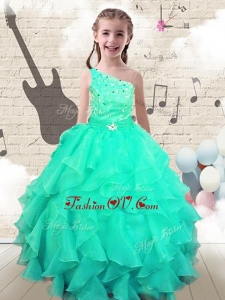 New Style Ball Gown One Shoulder Little Girl Pageant Dresses with Beading