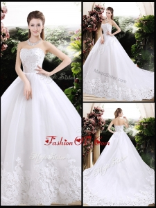 2016 Ball Gown Sweetheart Chapel Train Wedding Dresses with Appliques