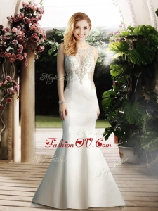 2016 Elegant Mermaid Scoop Wedding Dresses with Beading
