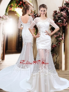 2016 Exquisite Column Scoop Brush Train Appliques Wedding Dresses with Half Sleeves