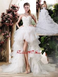 2016 Gorgeous High Low Wedding Dresses with Beading and Ruffles
