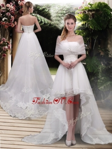 2016 High Low A Line Wedding Dresses with Appliques