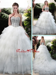 2016 Latest Beading and Ruffles Wedding Dresses with Court Train