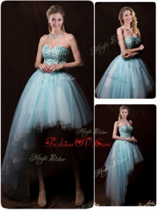 2016 Low Price Appliques Light Blue Wedding Dresses with Asymmetrical