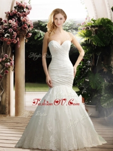 2016 Popular Mermaid Sweetheart Wedding Dresses with Appliques and Ruching