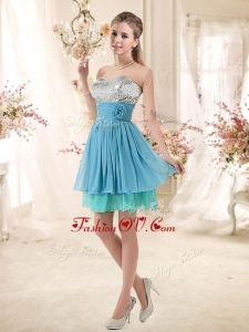 2016 Discount Sweetheart Dama Dresses with Sequins and Hand Made Flowers