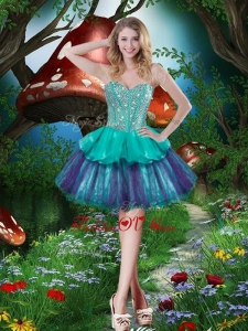 2016 Fashionable Short Sweetheart Dama Dresses with Beading and Ruffled Layers for Fall