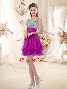 2016 Hot Sale Straps Short Prom Fuchsia Dresses with Sequins