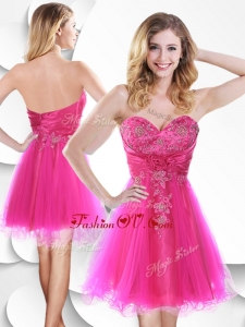 2016 Lovely Short Hot Pink Dama Dress with Beading and Hand Made Flowers