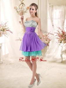 2016 Low Price Sweetheart Short Prom Dresses with Sequins and Belt