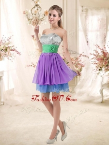 2016 Most Popular Sweetheart Multi Color Short Dama Dresses with Sequins