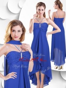 2016 Simple Spaghetti Straps High Low Blue Dama Dress with Beading