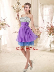2016 Top Selling Sweetheart Short Sequins Prom Dresses in Multi Color
