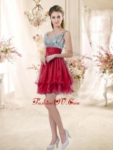 2016 Wonderful Straps Sequins and Ruching Dama Dresses in Wine Red