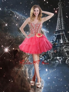 2016 Pretty Short Sweetheart Prom Dresses with Beading and Hand Made Flowers