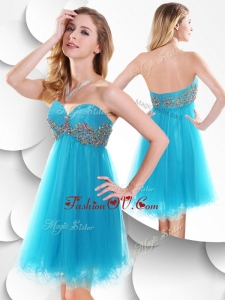 2016 Sweet Short Baby Blue Prom Dress with Beading