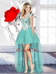 Aqua Blue High Low Unique Prom Dresses with Appliques