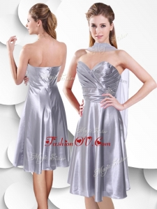 Unique Empire Elastic Woven Satin Silver Prom Dress with Beading and Ruching