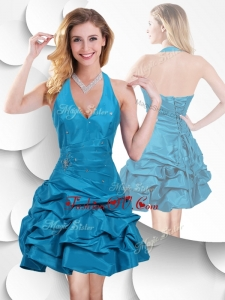 Unique Halter Top Taffeta Teal Prom Dress with Bubles