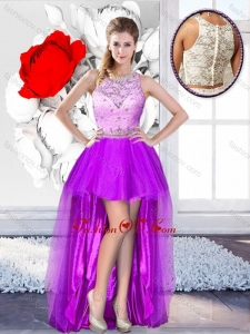 Unique High Low Scoop 2016 Prom Dresses with Beading