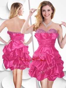 Unique Hot Pink Taffeta Prom Dress with Beading and Bubles