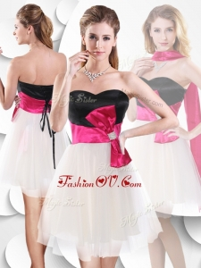 Unique Short White and Black Prom Dress with Bowknot
