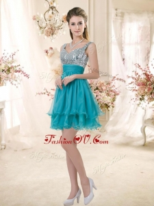 Unique Straps Short Sequins Prom Dresses in Teal