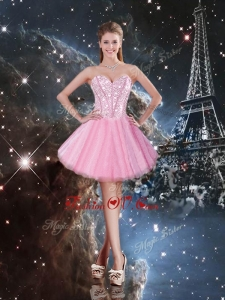 Unique Sweetheart Beading Short Prom Dresses in Pink